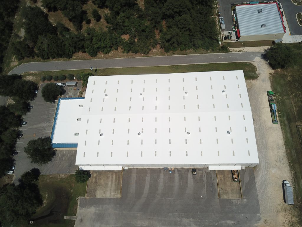 completed elastomeric roof coating