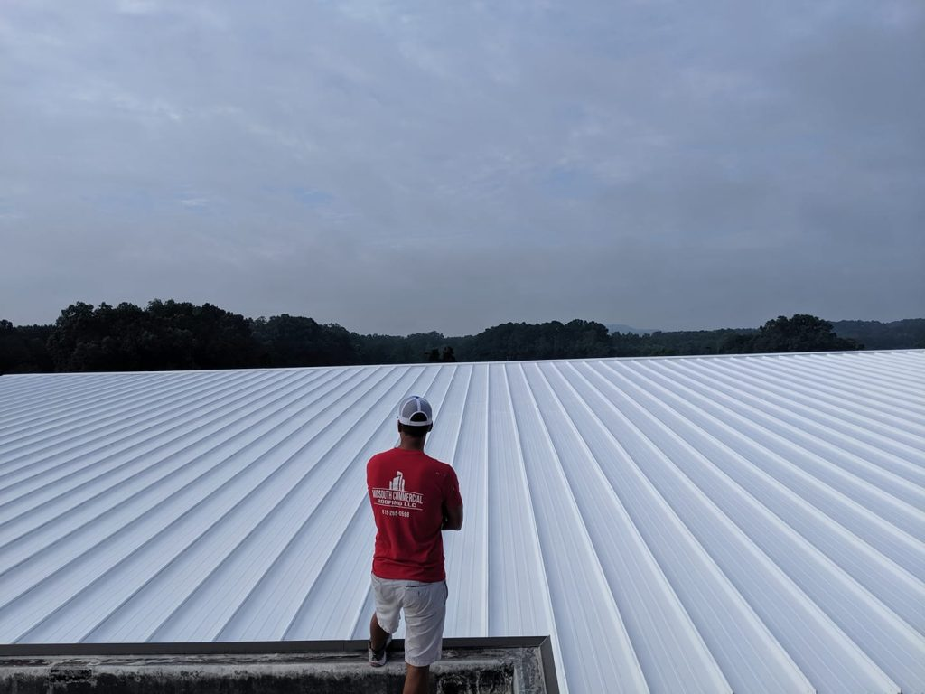 completed commercial roof coating